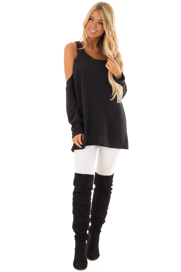 Black One Shoulder Long Sleeve Top with Asymmetrical Neckline front full body