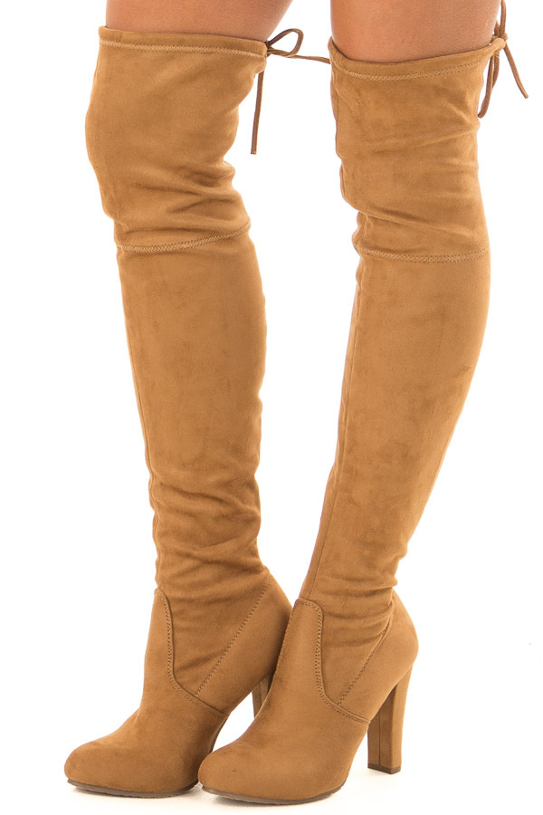 best sneakers release date: cheaper Camel Faux Suede Knee High Boots with High Heels