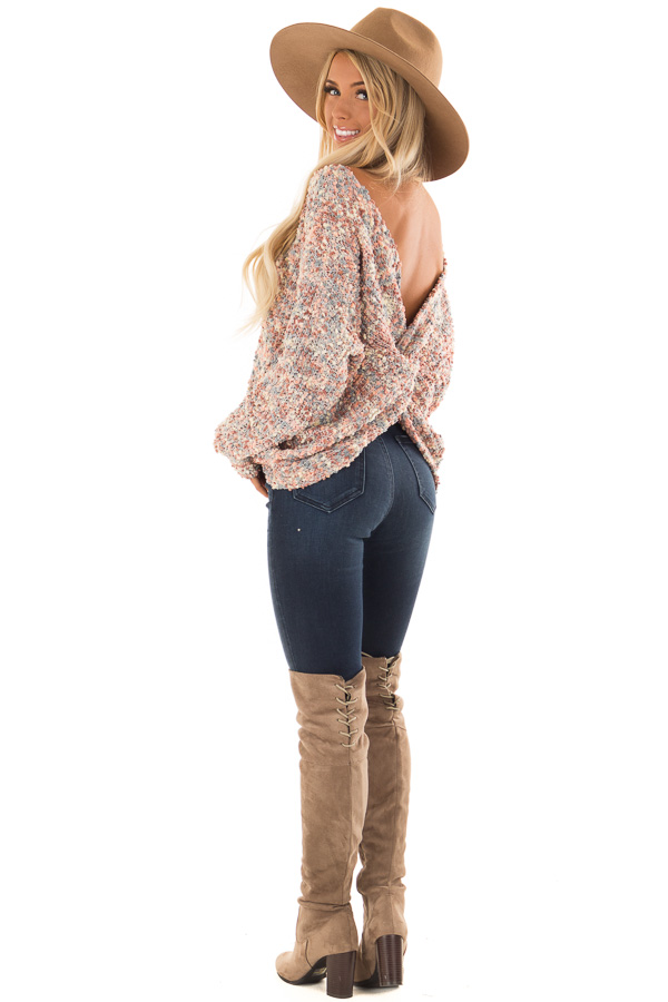 Blush Multi Color Long Sleeve Sweater with Back Twist Detail back side full body