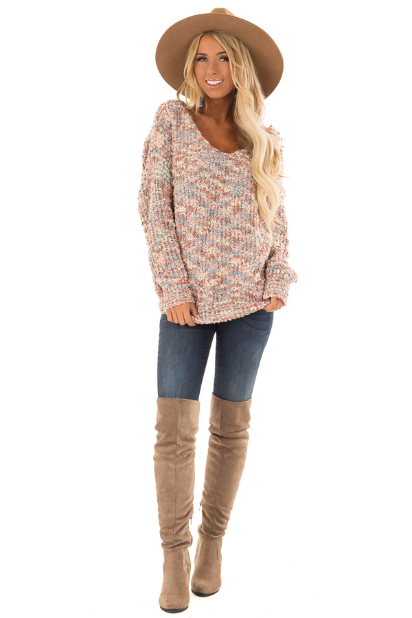Blush Multi Color Long Sleeve Sweater with Back Twist Detail front full body