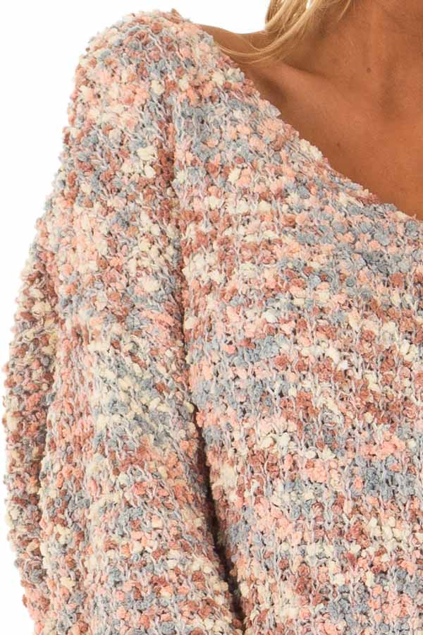 Blush Multi Color Long Sleeve Sweater with Back Twist Detail detail