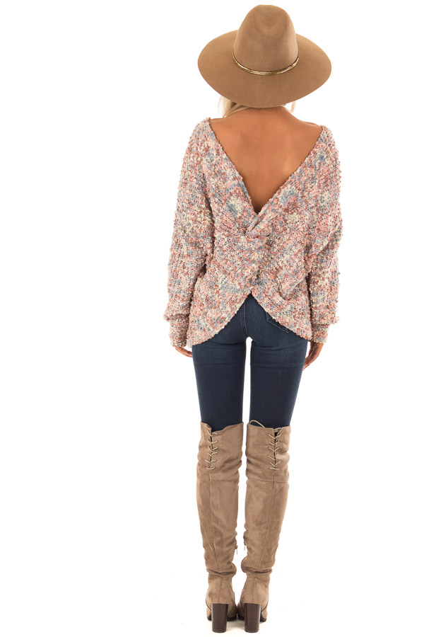 Blush Multi Color Long Sleeve Sweater with Back Twist Detail back full body
