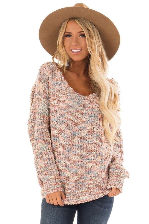 Blush Multi Color Long Sleeve Sweater with Back Twist Detail front close up