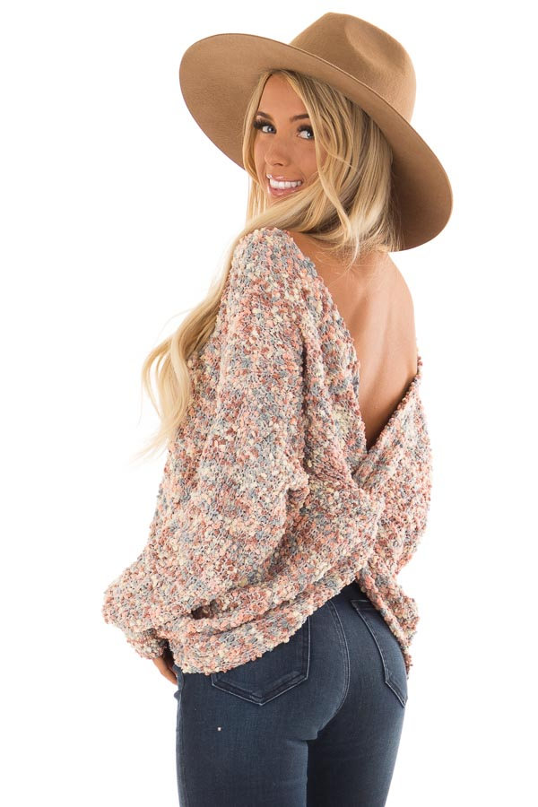 Blush Multi Color Long Sleeve Sweater with Back Twist Detail back side close up
