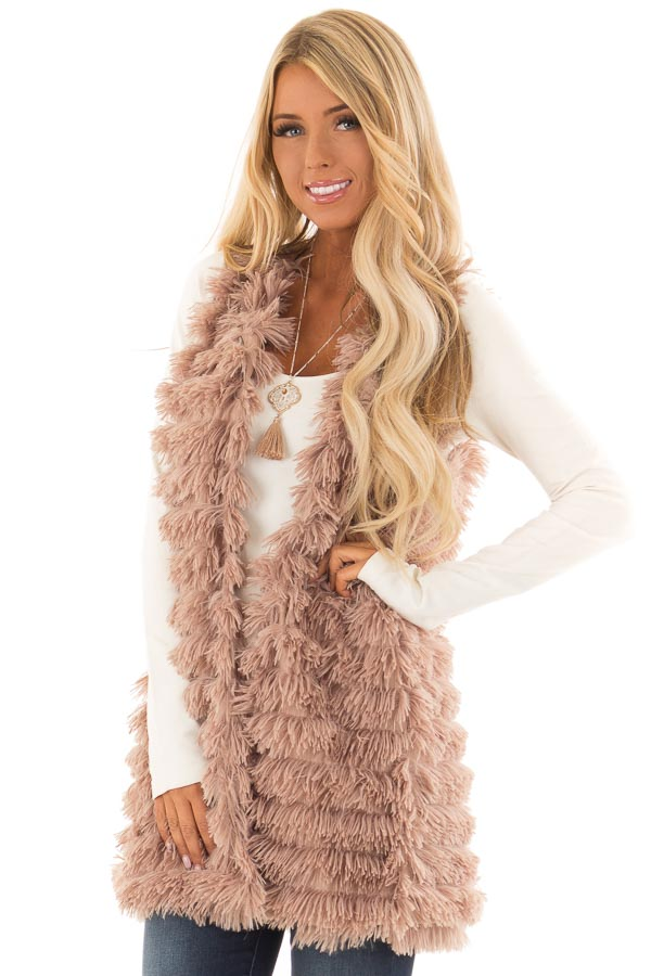 Light Mocha Layered Faux Fur Vest with Hidden Side Pockets front close up