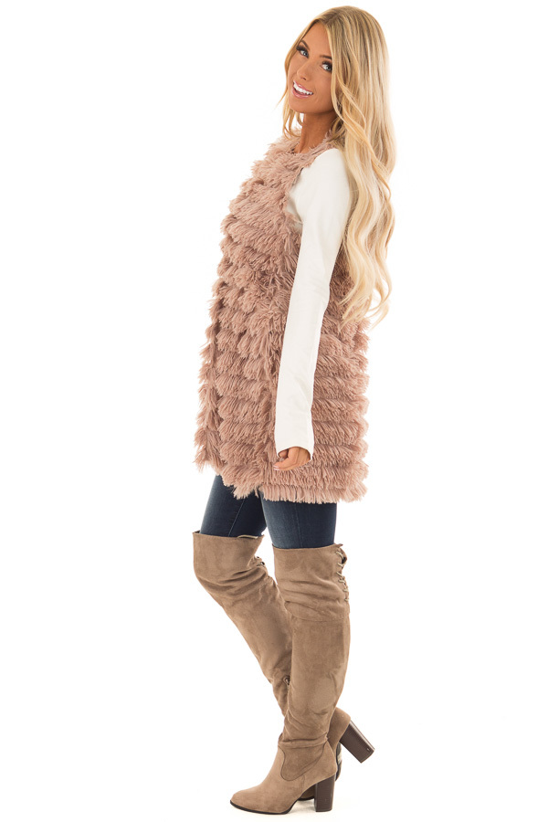 Light Mocha Layered Faux Fur Vest with Hidden Side Pockets side full body