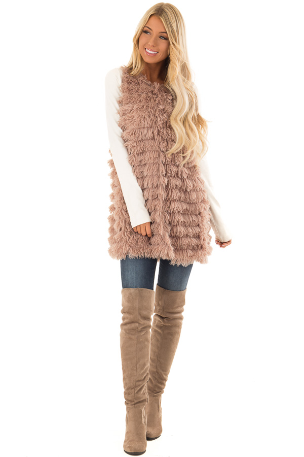 Light Mocha Layered Faux Fur Vest with Hidden Side Pockets front full body