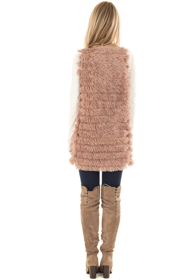 Light Mocha Layered Faux Fur Vest with Hidden Side Pockets back full body