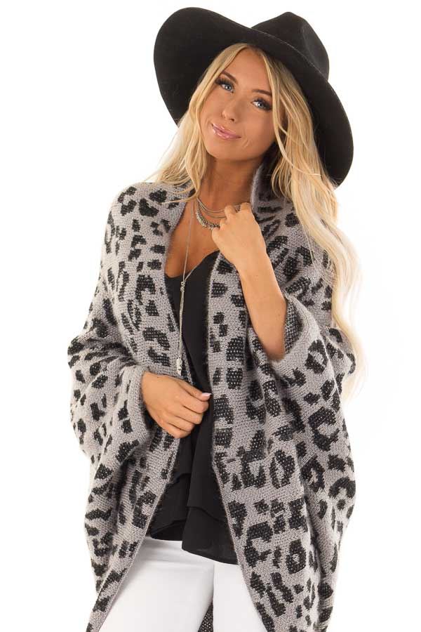 Iron Grey Leopard Print Cardigan With Batwing Sleeves