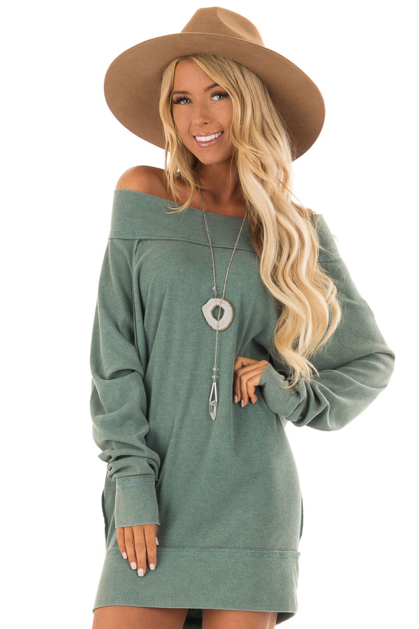 4b26980f998da Sage Off the Shoulder Ribbed Knit Long Sleeve Tunic - Lime Lush Boutique