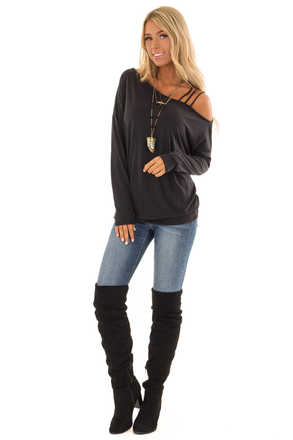 c3669eca8c2 Black Top with One Strappy Cold Shoulder and Long Sleeves front full body