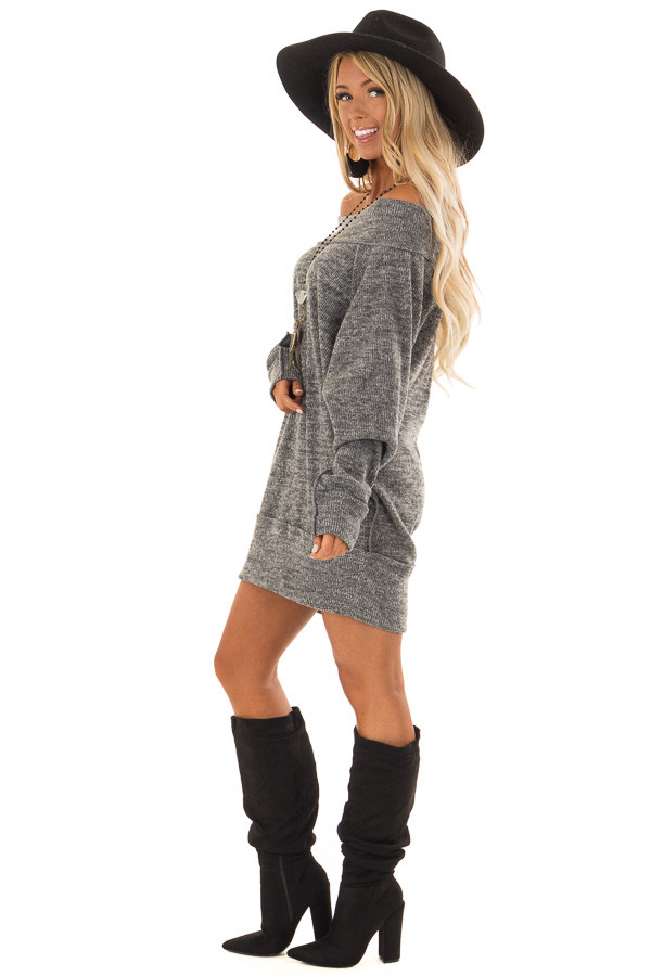 Charcoal Off the Shoulder Dress with Exposed Seam Detail side full body