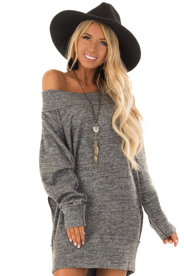 Charcoal Off the Shoulder Dress with Exposed Seam Detail front close up