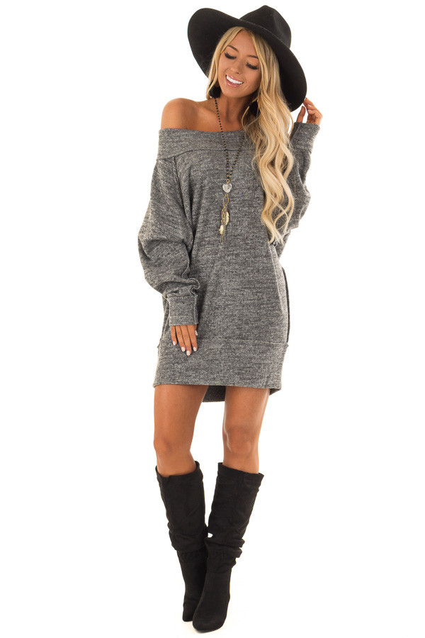 Charcoal Off the Shoulder Dress with Exposed Seam Detail front full body