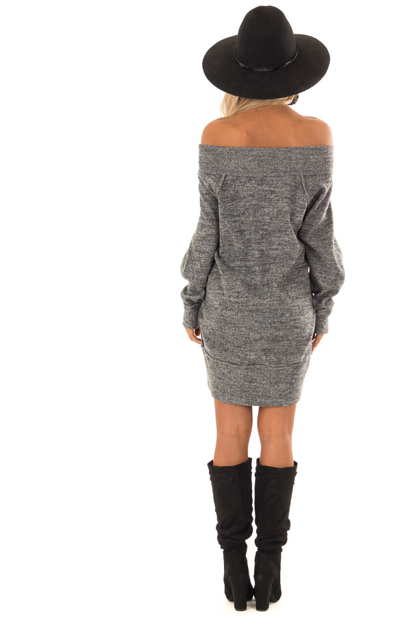 Charcoal Off the Shoulder Dress with Exposed Seam Detail back full body
