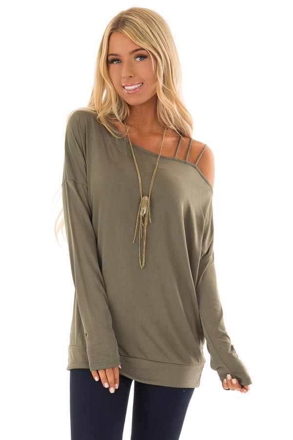 555693b2c8e337 Olive Top with One Strappy Cold Shoulder and Long Sleeves front close up