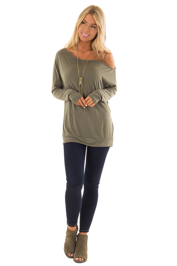 384cd7549b65b6 ... Olive Top with One Strappy Cold Shoulder and Long Sleeves front full  body ...