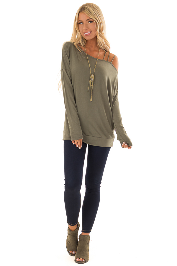4c6a03f91e65f9 Olive Top with One Strappy Cold Shoulder and Long Sleeves front full body  ...