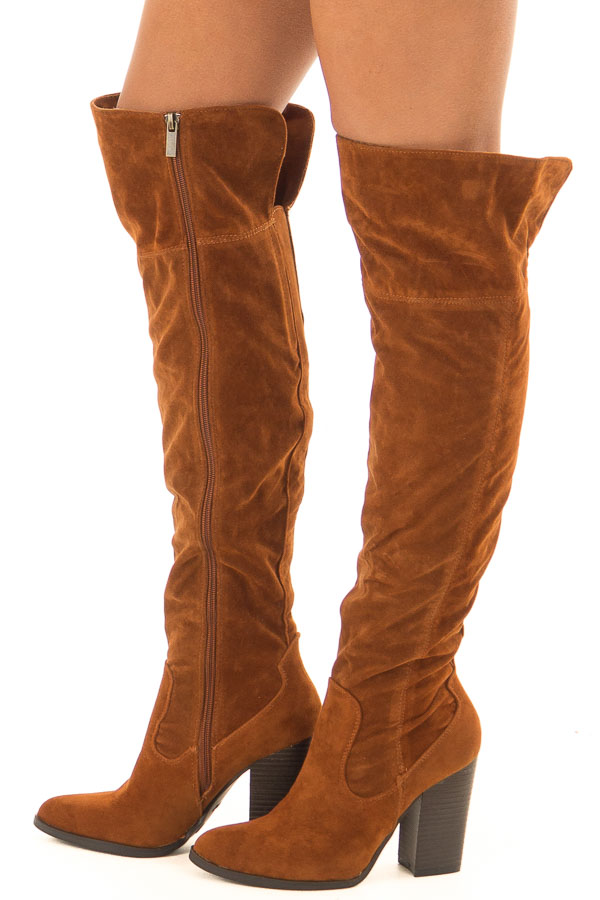 Rust Faux Suede Knee High Boots with Side Zipper side view