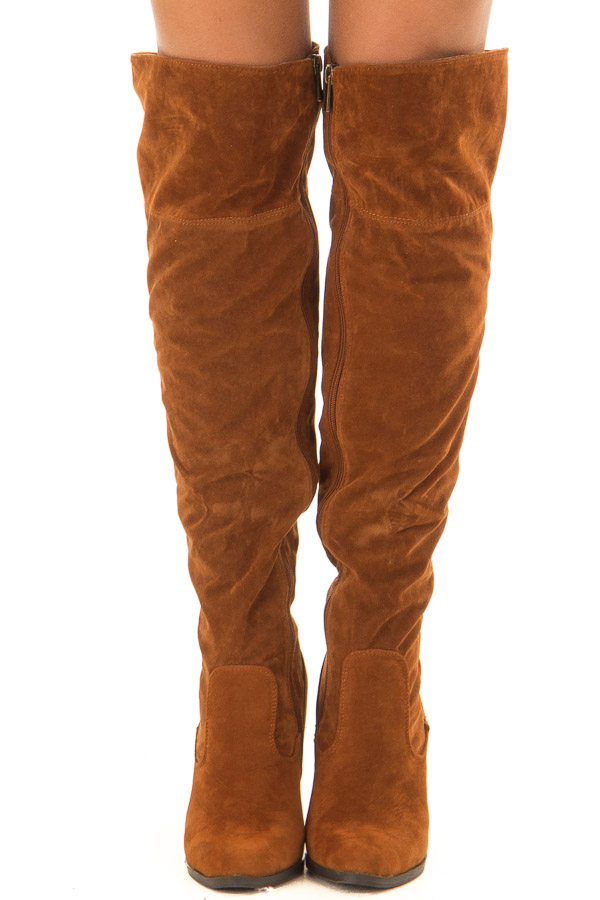 Rust Faux Suede Knee High Boots with Side Zipper front view