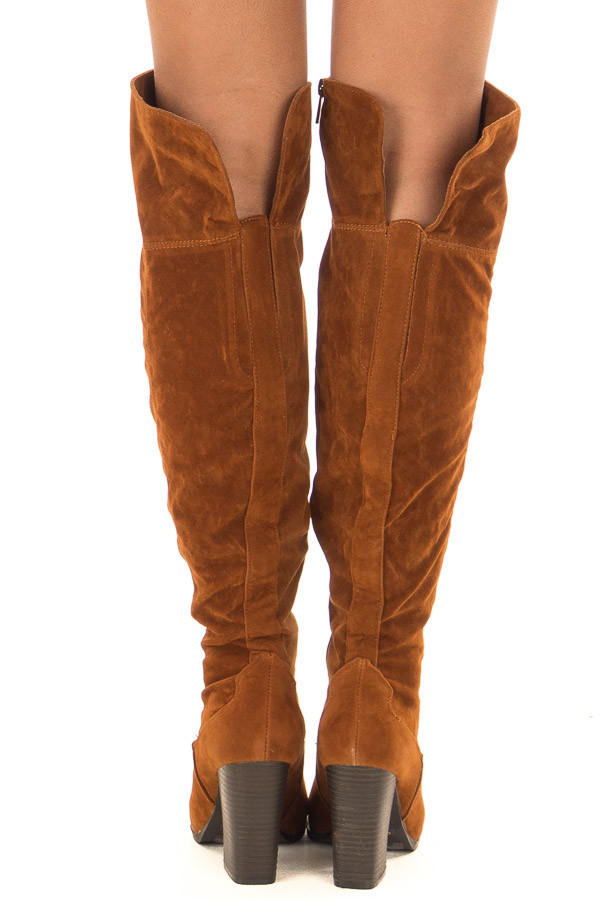 Rust Faux Suede Knee High Boots with Side Zipper back view