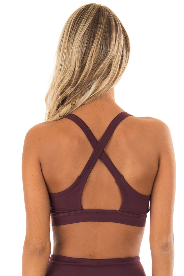 Burgundy Sports Bra with Crossover Straps back close up