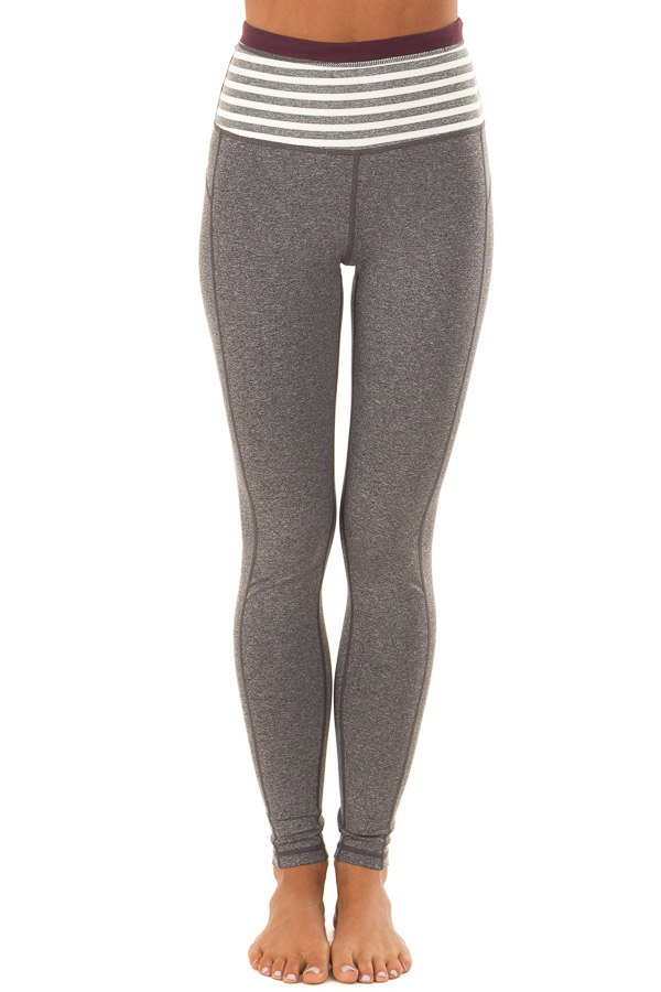 Heather Grey Athletic Leggings with Contrast Waistband front view