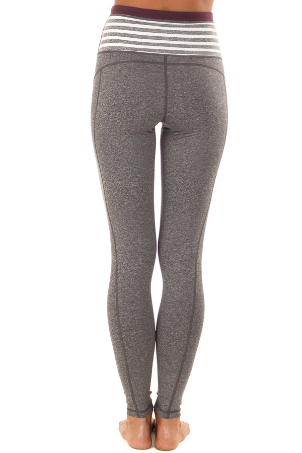 Heather Grey Athletic Leggings with Contrast Waistband back view