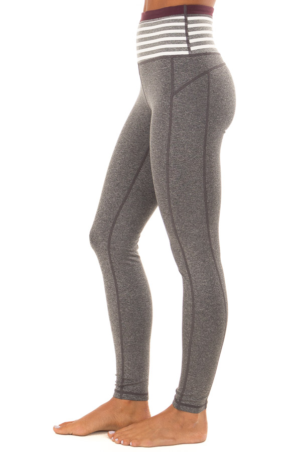 Heather Grey Athletic Leggings with Contrast Waistband side view