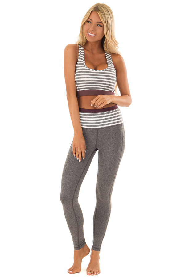 Heather Grey and White Striped Racerback Sports Bra front full body