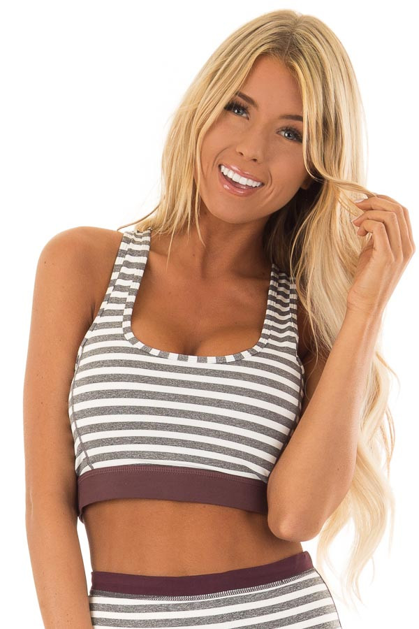 Heather Grey and White Striped Racerback Sports Bra front close up