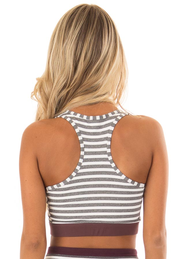 Heather Grey and White Striped Racerback Sports Bra back close up