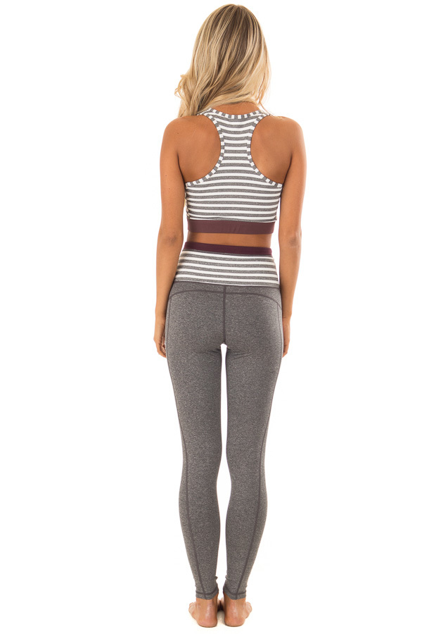 Heather Grey and White Striped Racerback Sports Bra back full body