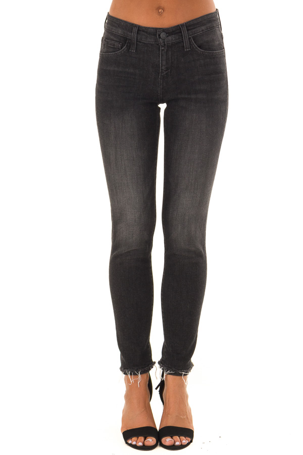 Charcoal Grey Mid Rise Skinny Jeans with Distressed Hem front view