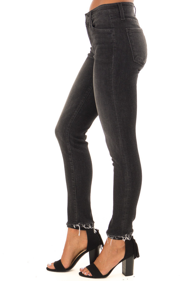 Charcoal Grey Mid Rise Skinny Jeans with Distressed Hem side view