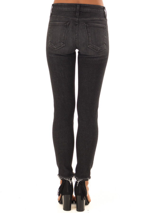 Charcoal Grey Mid Rise Skinny Jeans with Distressed Hem back view