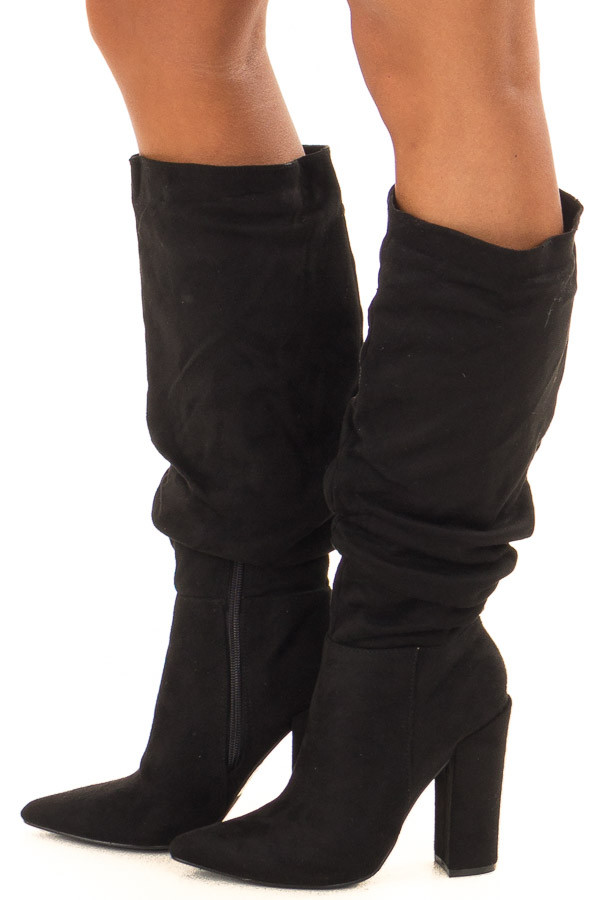 b3ce829bd7b5 Black Knee High Pointy Boot with Side Zipper - Lime Lush Boutique