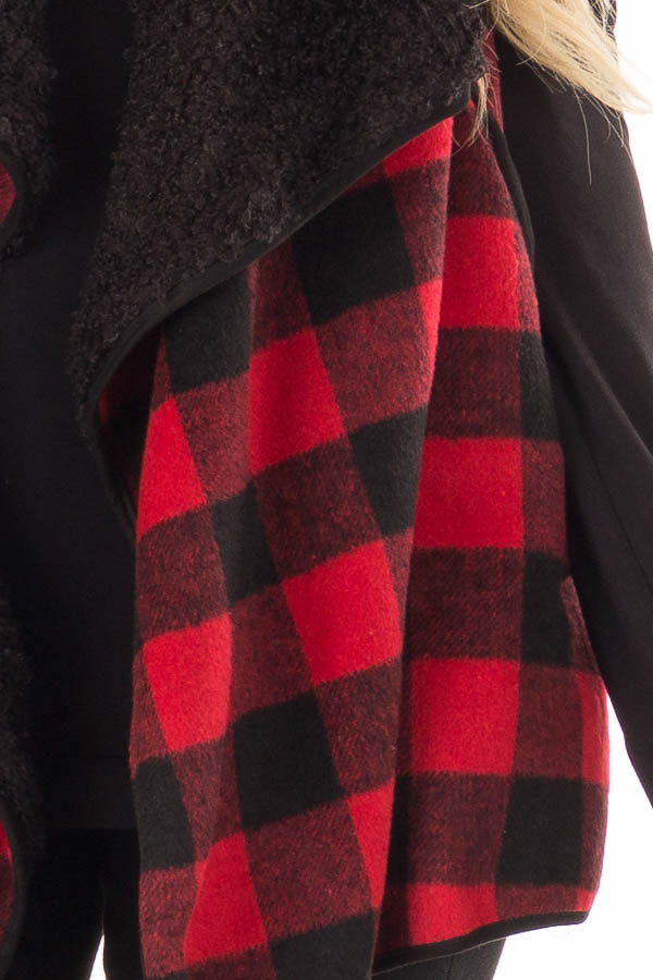 06178bb2d8239 Red and Black Buffalo Plaid Fur Lined Checkered Vest - Lime Lush ...