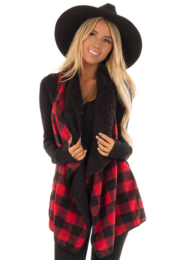 1c164c718 Red and Black Buffalo Plaid Fur Lined Checkered Vest - Lime Lush ...