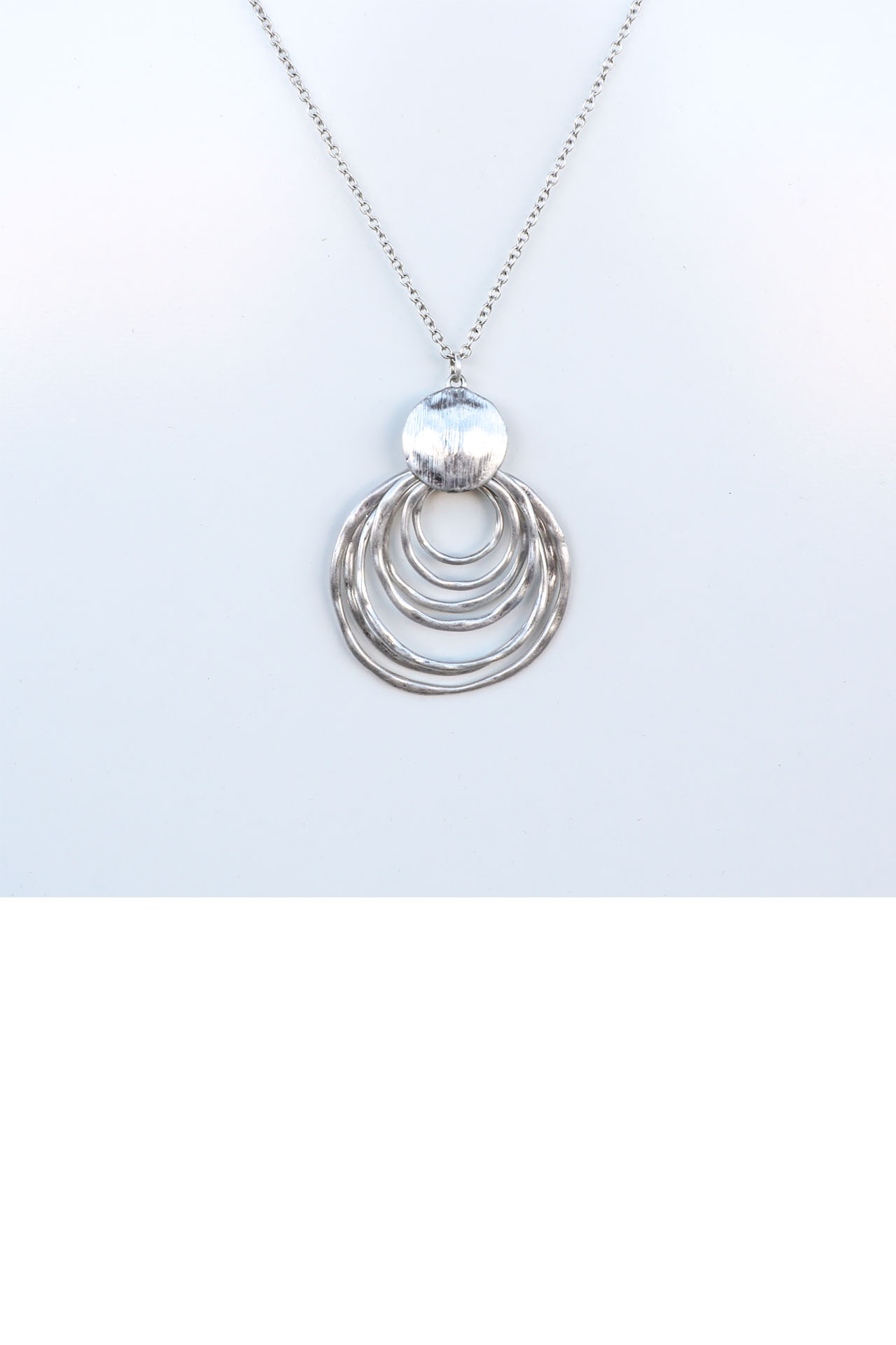 Silver Multi Circle Layered Long Necklace detail