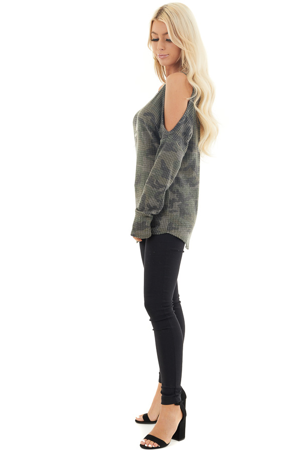 Camo Waffle Knit Cold Shoulder Long Sleeve Top side full body