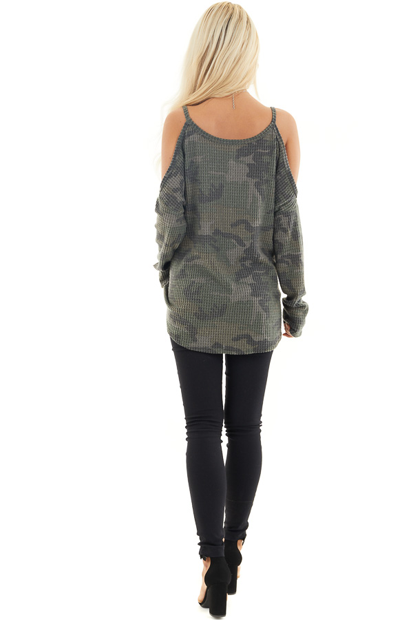 Camo Waffle Knit Cold Shoulder Long Sleeve Top back full body