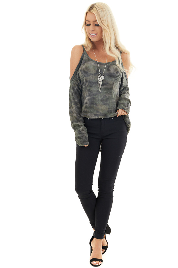 Camo Waffle Knit Cold Shoulder Long Sleeve Top front full body