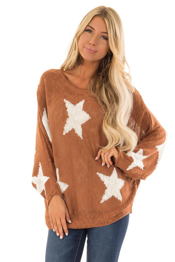 Rust Light Weight Knit Sweater with Ivory Star Print front close up