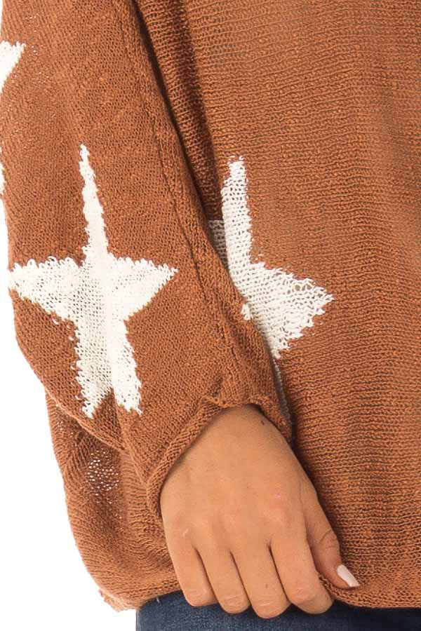 Rust Light Weight Knit Sweater with Ivory Star Print detail