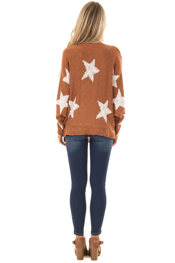 Rust Light Weight Knit Sweater with Ivory Star Print back full body