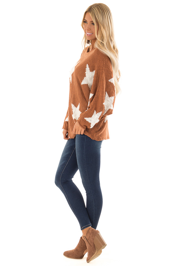 Rust Light Weight Knit Sweater with Ivory Star Print side full body