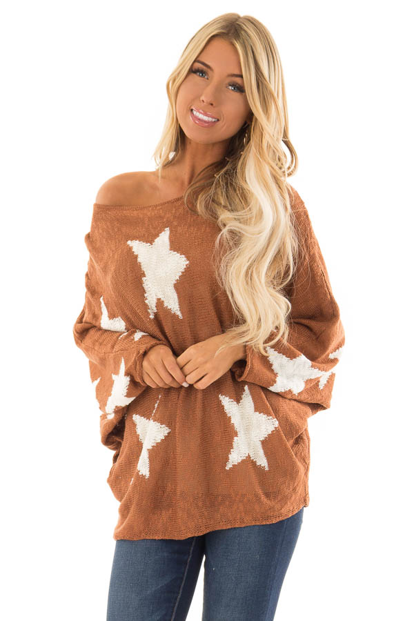 Rust Light Weight Knit Sweater with Ivory Star Print front full body