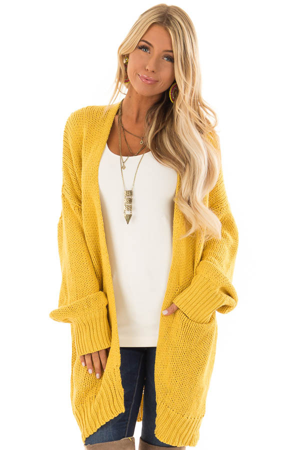 f6fca0aefa Goldenrod Thick Knit Sweater Cardigan with Front Pockets - Lime Lush ...