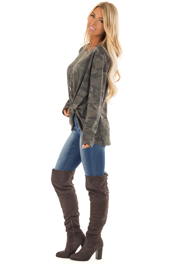 Olive Camo Print Waffle Knit Long Sleeve Top with Front Knot side full body